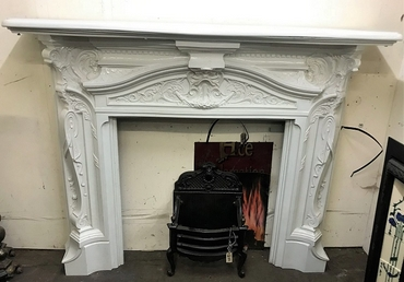 JUST IN ANTIQUE LATE VICTORIAN CAST IRON ROCOCO CHIMNEYPIECE