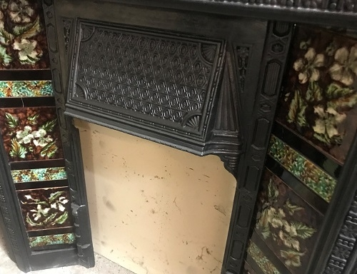 Original Antique Cast Iron Fireplace Insert