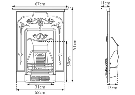 Jasmine Cast Iron Combination Fireplace