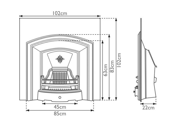 London Plate Cast Iron Fireplace Insert by Carron