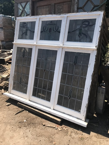 Large Reclaimed 6 Panel Stained Glass Window
