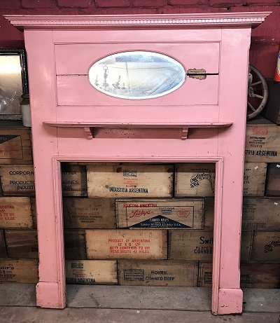 Original Pink Wooden Fire Surround with mirrored overmantle