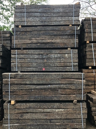 RECLAIMED A GRADE OAK RAILWAY SLEEPERS  2.6m x 250 x 150mm