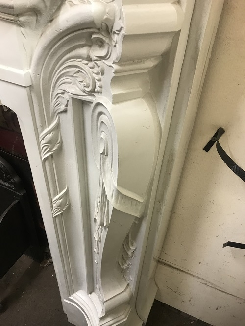 RECLAIMED ANTIQUE LATE VICTORIAN CAST IRON ROCOCO CHIMNEYPIECE