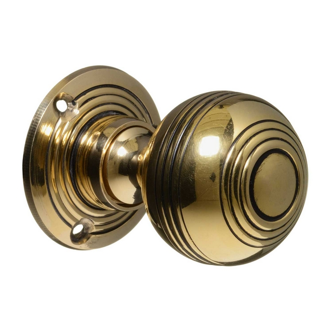 Georgian Style Door Knobs - Brass Reeded (pair)