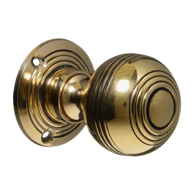 Georgian Style Door Knobs - Brass Reeded (pair)