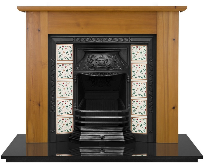 Laurel Cast Iron Fireplace Insert Polished