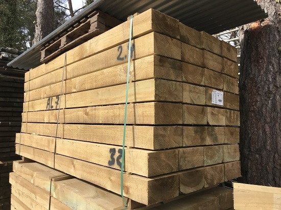 NEW SOFTWOOD TREATED SLEEPERS 2.4m x 245mm x 120mm
