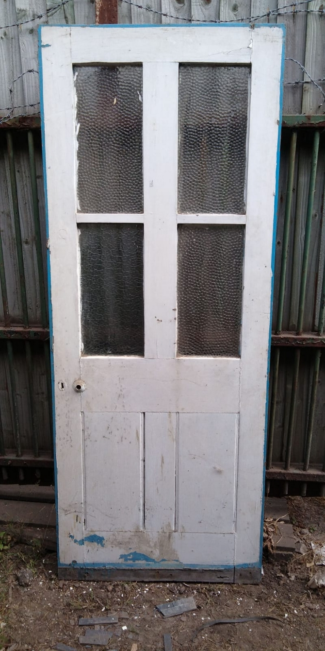 Reclaimed Frosted Half Glazed Door