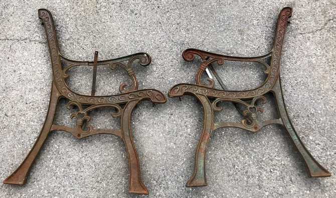 Pair of Vintage Cast Iron Bench Ends