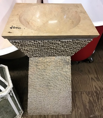 Reclaimed Modern Stone Pedestal with Marble Insert Basin