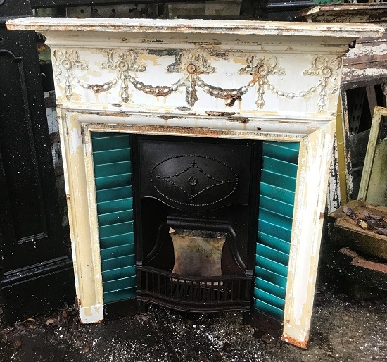 Salvaged Cast Iron Tiled Combination Fireplace