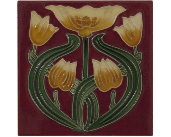 Set of 10 Yellow Tulip on Red Tiles