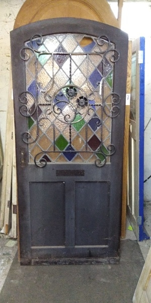 Reclaimed Arched Stained Glass Front Door