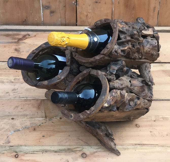 Driftwood 3 Bottle Wine Holder