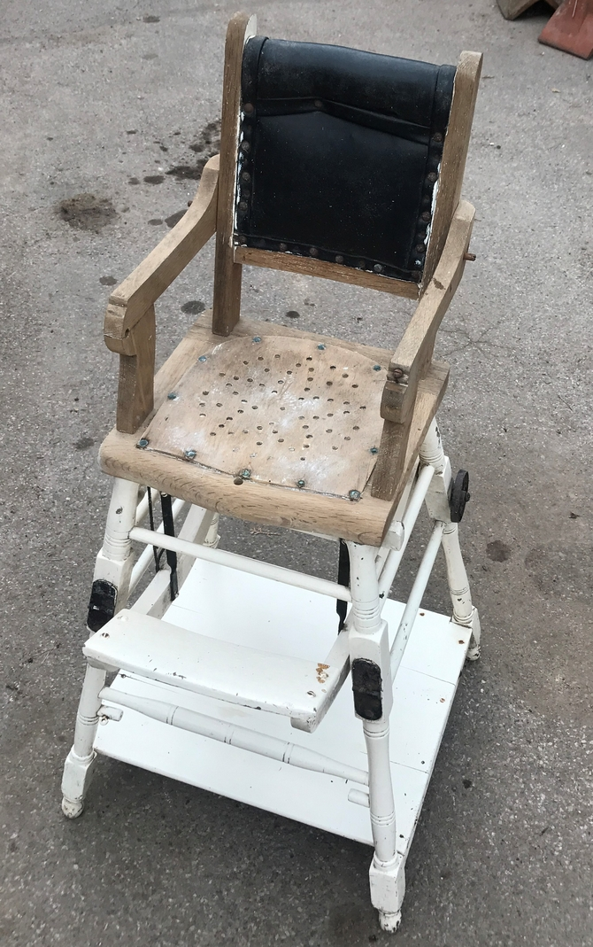 Antique French Metamorphosis Childrens Chair/High Chair