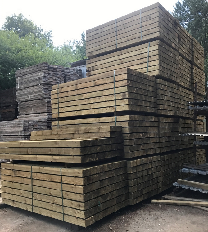 New British Eco Treated Sleepers 2.4m x 200mm x 100mm