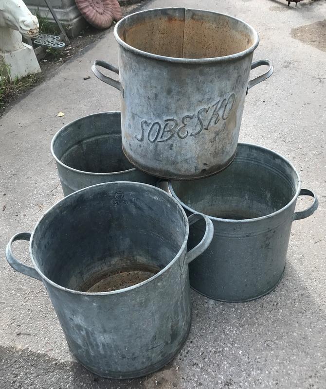 Galvanised planter buckets
