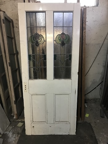 Reclaimed Stained Glass Painted Door