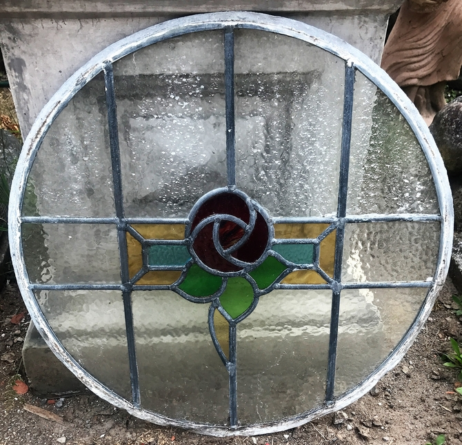 Reclaimed Round Stained Glass Panel