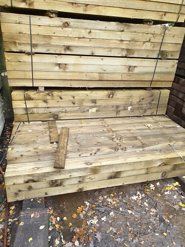 NEW SOFTWOOD TREATED SLEEPERS 2.4m x 200mm x 100mm