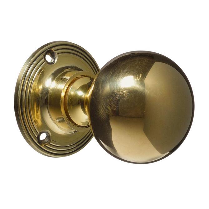 Victorian Style Door Knobs - Brass Plain (pair)