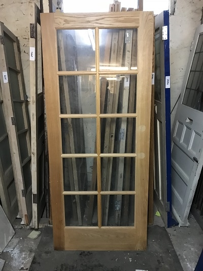 Reclaimed Oak 10 Panel Glazed Door