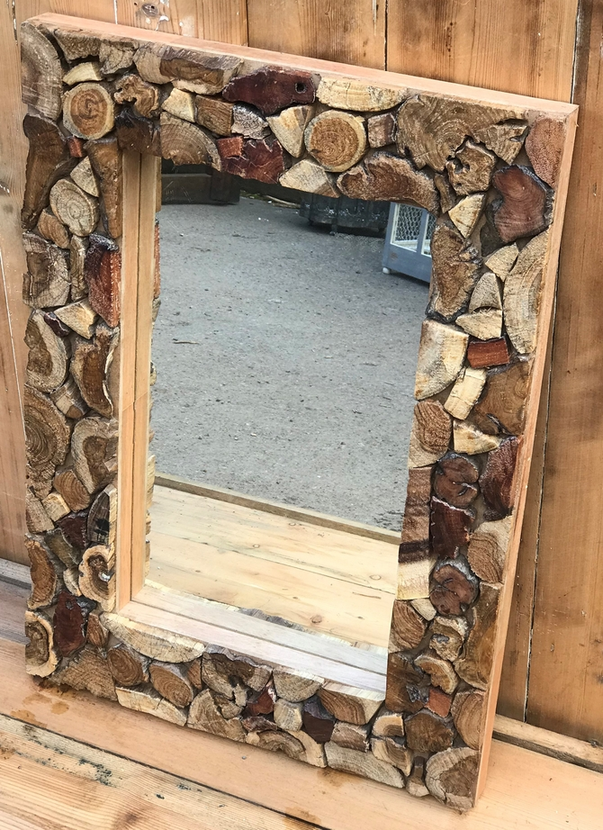 Teak Framed Mirror Small
