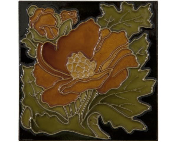Set of 10 Rust Flower on Black Tiles