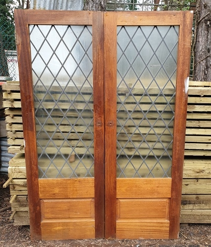 Pair of Hardwood Internal Glass French Doors