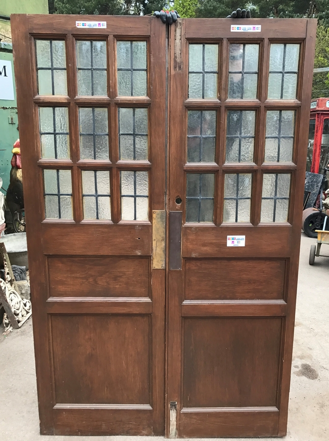 Pair of Antique Leaded Glazed Solid Pine Doors Ref 008AB