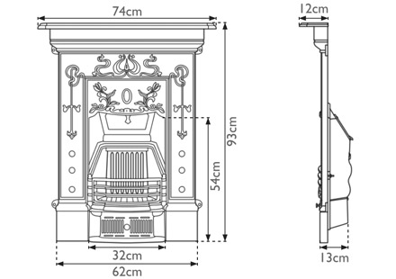 Bella Small Cast Iron Combination Fireplace