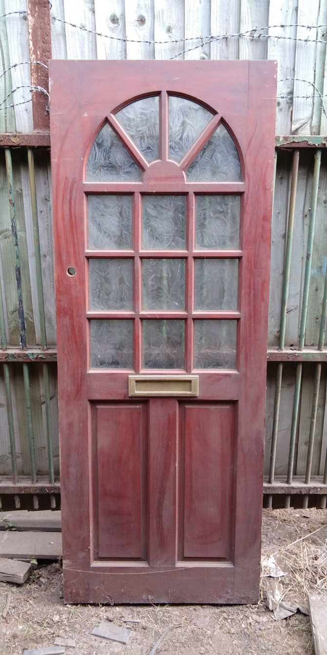Reclaimed Half Glazed Front 13 Panel Front Door