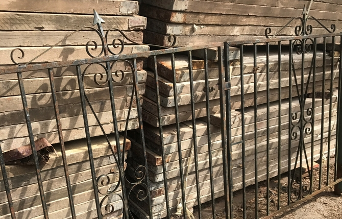 Decorative Reclaimed Wrought Iron Gates Span: 296cm