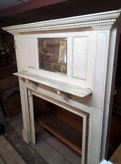 Original Decorative White Fire Surround with mirror over mantle