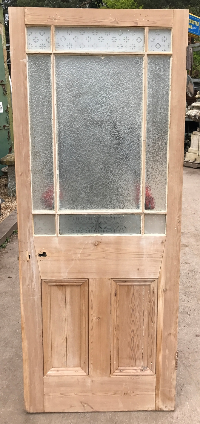 VICTORIAN FRONT DOOR WOOD RECLAIMED PERIOD OLD ANTIQUE PINE GLAZED REF 006 - VICTORIAN FRONT DOOR WOOD RECLAIMED PERIOD OLD ANTIQUE PINE GLAZED