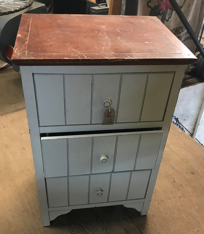 Reclaimed 3 Draw Bedside Unit