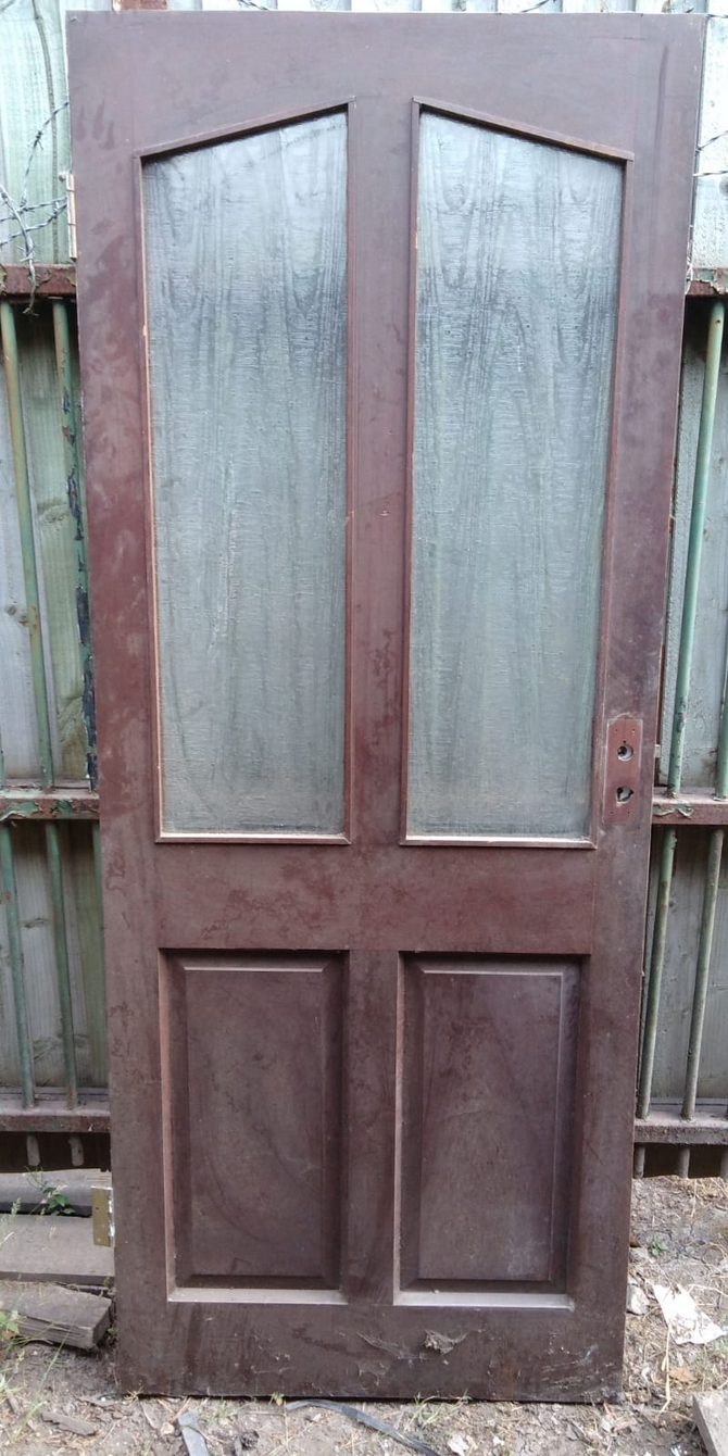Reclaimed 2 Panel Half Glazed Front Door