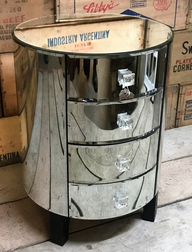 Reclaimed Art Deco 4 Draw Mirrored Cabinet