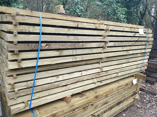 NEW BRITISH ECO TREATED SLEEPERS 2.4m x 200mm x 47mm