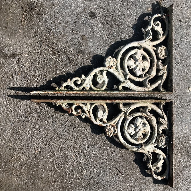 Pair of Large Ornate Cast Iron Brackets SOLD