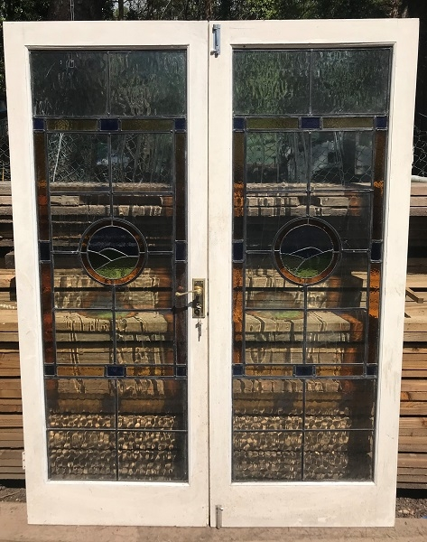 Pair of Reclaimed Stained Glass French Doors