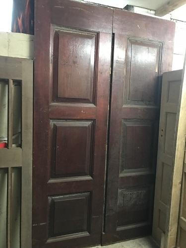 Pair of Large 3 Panel Hardwood Entrance Doors
