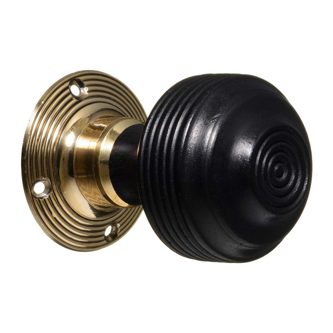 Georgian Style Door Knobs - Ebonised Reeded (pair)