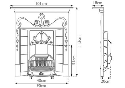 Valentine Cast Iron Combination Fireplace by Carron