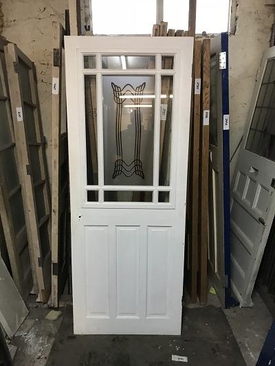 Reclaimed Modern White Glazed Door