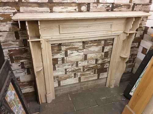 Original Decorative Stripped Wooden Fire Surround