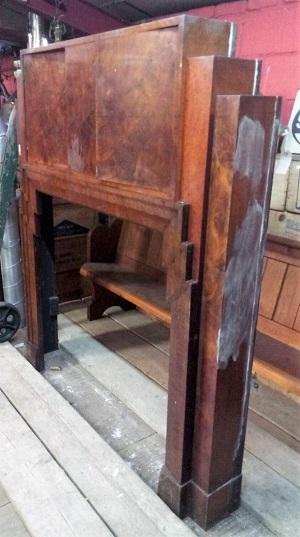 Original Art Deco Fire Surround with hidden cupboard overmantle