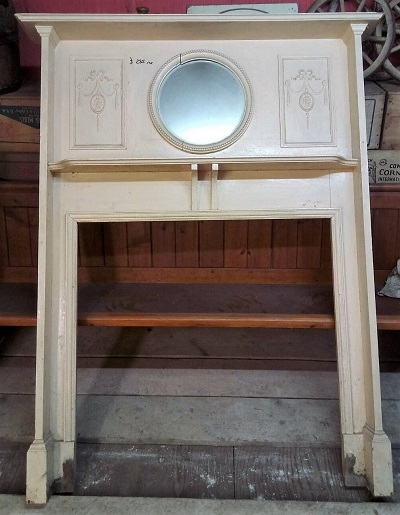 Original  Wooden Fire Surround with round mirror over mantle