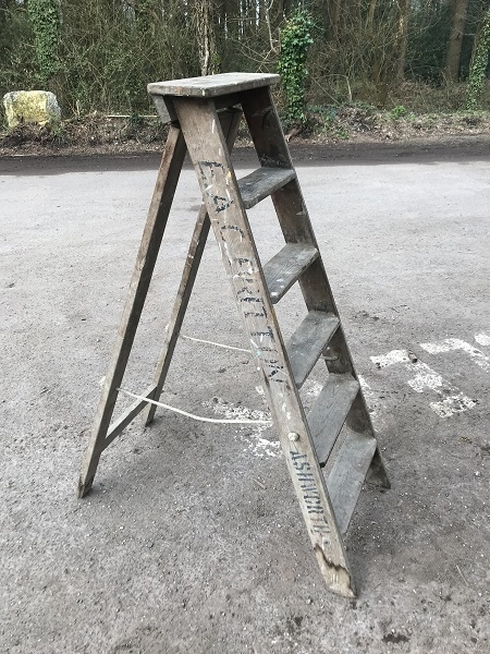 Reclaimed Wooden Paint Splattered Step Ladder
